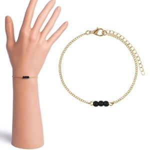 Dainty Black Beaded Gold Link Chain Bracelet